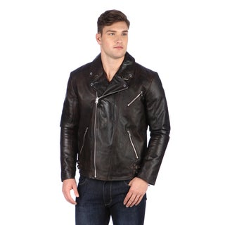 United Face Men's Brown Genuine Leather Biker Jacket