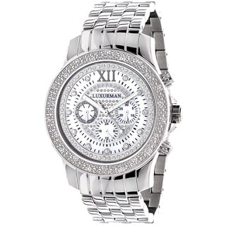 Luxurman Men's Stainless Steel 0.25ct Diamond Watch