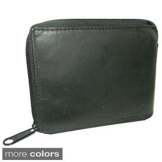Hollywood Tag Leather Billfold Zip-around Wallet