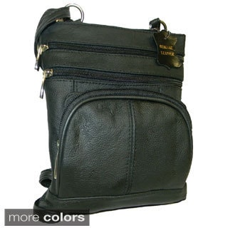 Black Deluxe Cowhide Leather Messenger Bag