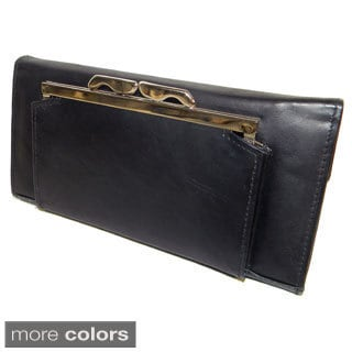 Hollywood Tag Women's Cowhide Leather Checkbook Wallet