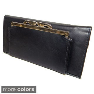 Women's Cowhide Leather Checkbook Wallet