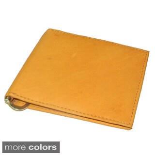 Mens Leather Bi-fold Money Clip Wallet