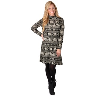 Journee Collection Women's Patterned Long Sleeve Tunic Dress