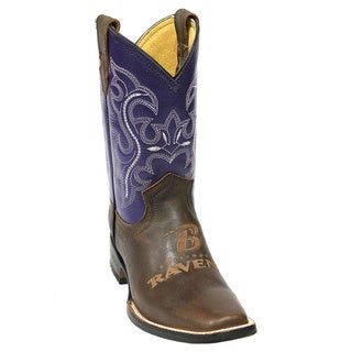 Kids Baltimore Ravens Leather Western Boots