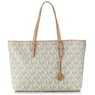 Michael Kors 'Jet Set' Medium Vanilla Leather Logo Tote