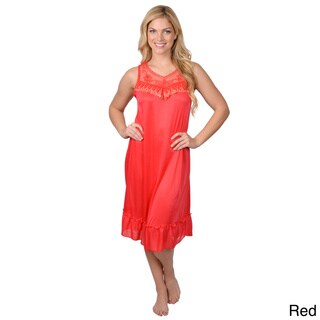 Journee Collection Women's Embroidery Accent Sleeveless Nightie