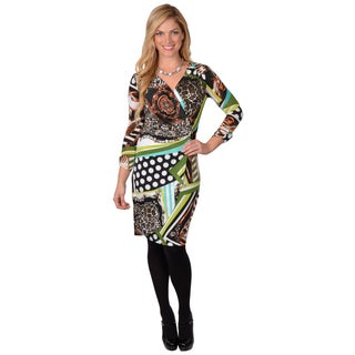 Journee Collection Women's Patterned V-Neck Wrap Dress