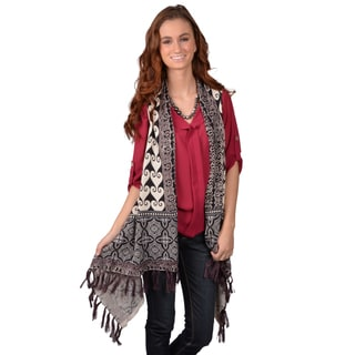 Journee Collection Womens Sleeveless Open Front Fringed Cardigan