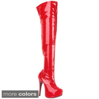 Bordello 'Teeze-3000' Women's Stiletto Heel Hidden Platform Stretch Thigh High Boots