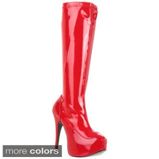 Bordello 'Teeze-2000' Women's Stiletto Heel Hidden Platform Stretch Knee High Boots