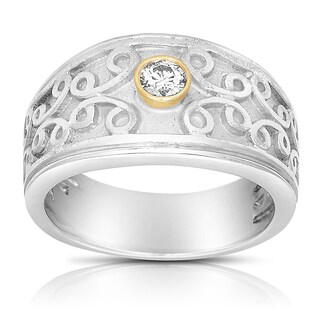 Eloquence Silver & 14k Yellow Gold 1/6ct TDW Diamond Band (H-I, I2-I3)