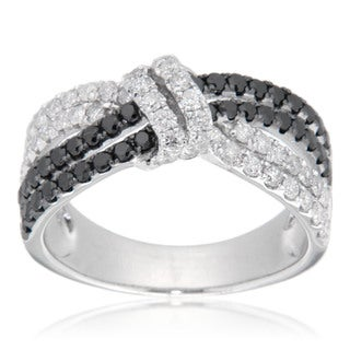 D'sire Sterling Silver 1 1/10ct TDW Black and White Multi-row Diamond Ring (I, SI1-SI2)