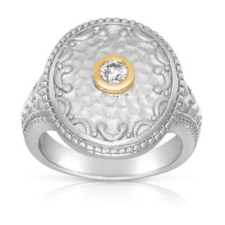 14k Two Tone Gold 1/6ct TDW Bezel Diamond Ring (H-I, I2-I3)