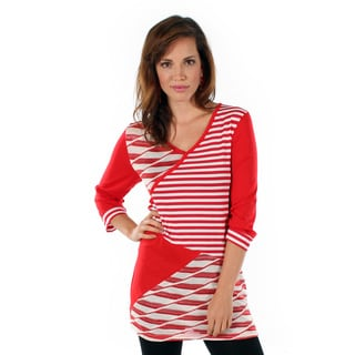 Women's Red and White Spliced Top