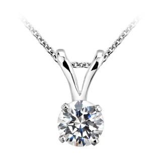 14k White Gold 1/5ct TDW Certified Diamond Necklace (H-I, I1-I2)