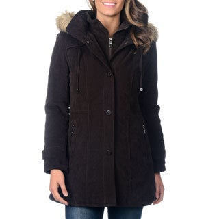 Fleet Street Women's Mole Skin Faux Fur Trim Hood Coat