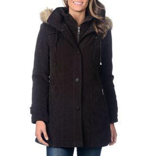 Fleet Street Women's Mole Skin Faux Fur Trim Hood Coat