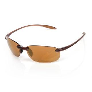 Serengeti 'Nuvola' Satin Dark Brown Frameless Wrap Sunglasses