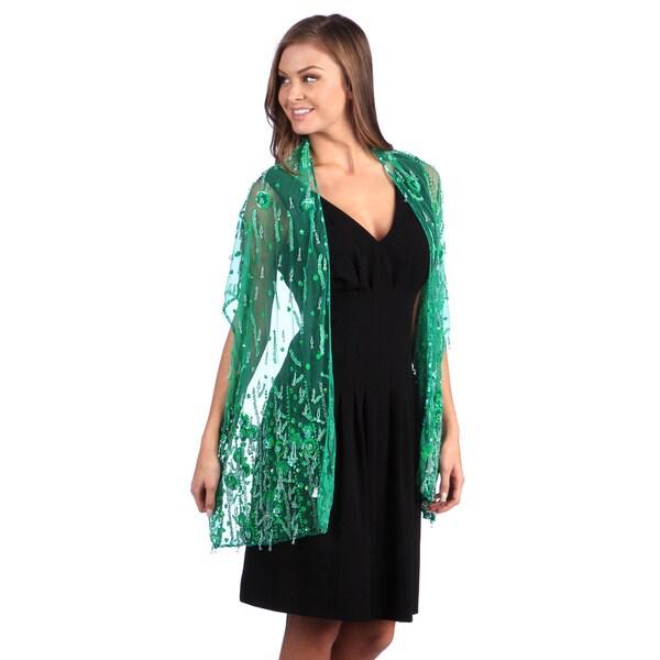 Selection Privee Paris Evening Dressy Green Beaded Silk Sheer Shawl Wrap