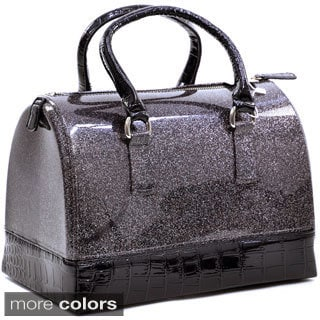 Dasein Croco Trim Glitter Jelly Satchel Bag