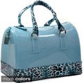 Dasein Leopard Print Trim Glitter Jelly Satchel Bag
