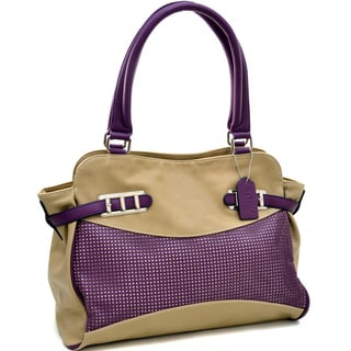 Dasein Two Tone Mesh Panel With Belted Accents Shoulder Bag