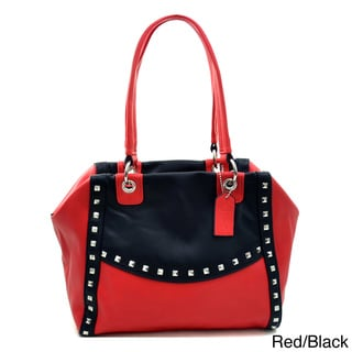 Dasein Petite Pyramid Studded Two-Tone Shoulder Bag