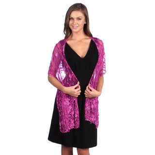Selection Privee Paris Evening Dressy Fuchsia Beaded Silk Sheer Shawl Wrap