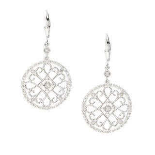 La Preciosa Sterling Silver Medallion Cutout Design Diamond Earrings