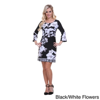 White Mark Women's 'Revolution' Printed Bell Sleeve Dress