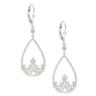 La Preciosa Sterling Silver Open Teardrop Diamond Dangle Earrings