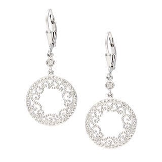 La Preciosa Sterling Silver Filigree Circle Diamond Dangle Earrings