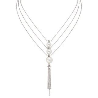 Pearlyta Sterling Silver Freshwater Pearl and Cubic Zirconia Tassle Necklace (8-11 mm)