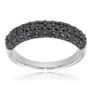 D'sire Sterling Silver 1ct TDW Black Pave-set Diamond Ring (I, SI1-SI2)