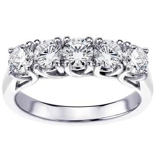 14K/18K Gold or Platinum 1 5/8ct TDW Brilliant Cut Five Stone Diamond Wedding Band
