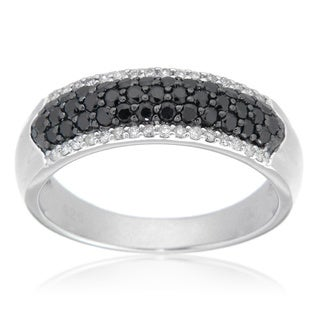 D'sire Sterling Silver Black and White Diamond Band (I, SI1-SI2)