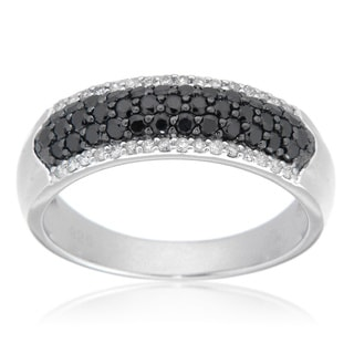 D'sire Sterling Silver 7/9ct TDW Black and White Diamond Ring (I, SI1-SI2)
