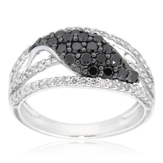 D'sire Sterling Silver Black and White Diamond Ring (I, SI1-SI2)