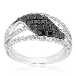 D'sire Sterling Silver 1 1/11ct TDW Black and White Diamond Ring (I, SI1-SI2)