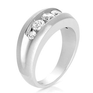 Eloquence 10k White Gold Men's 1ct TDW Channel Set Diamond Band (H-I, I2-I3)