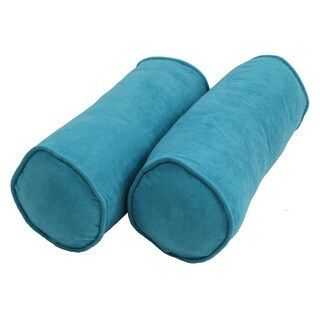 Blazing Needles Cylinder Microsuede Bolster Pillows (Set of 2)
