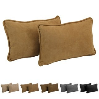 Blazing Needles Microsuede Rectangular Back Support Throw Pillows (Set of 2)