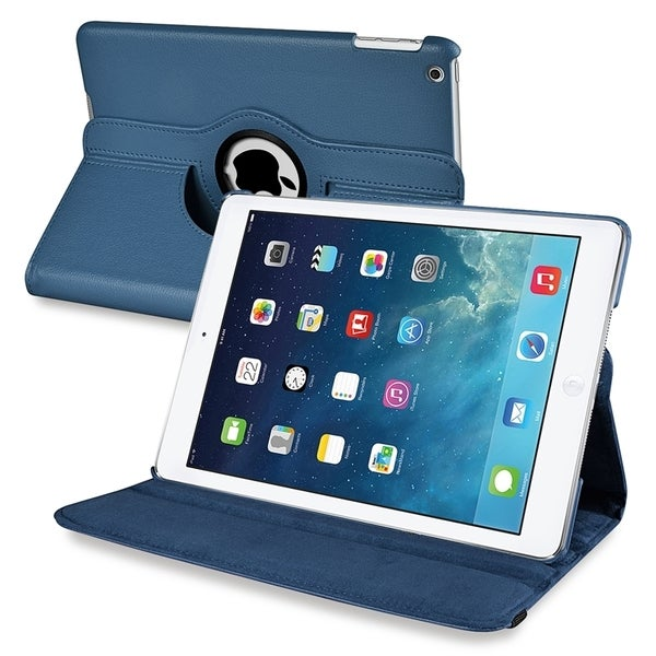 INSTEN Navy Blue 360-degree Swivel Leather Tablet Case Cover for Apple iPad Air