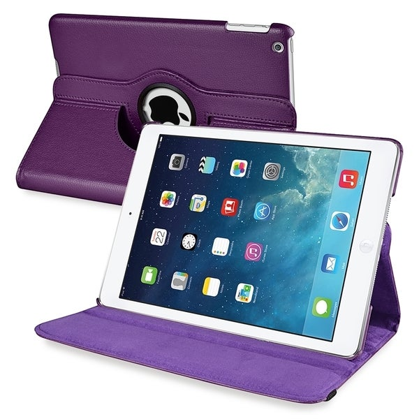 INSTEN Purple 360-degree Swivel Stand Leather Case Cover for Apple iPad Air