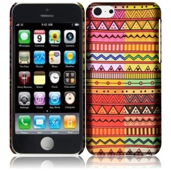 INSTEN Colorful Geometric Aztec Rubberized Hard Plastic Snap-on Phone Case Cover for Apple iPhone 5C