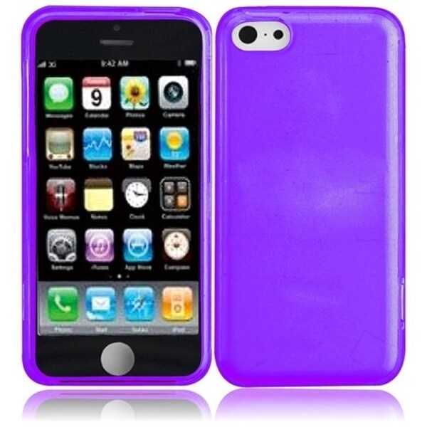 INSTEN Purple TPU Rubber Candy Skin Phone Case Cover for Apple iPhone 5C