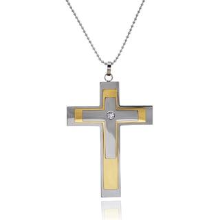 Vance Co. Men's Titanium Cubic Zirconia Cross Pendant