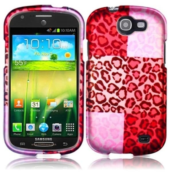 INSTEN Red/ Pink Exotic Cheetah Rubberized Matte Hard Plastic Snap-on Phone Case Cover for Samsung Galaxy Express