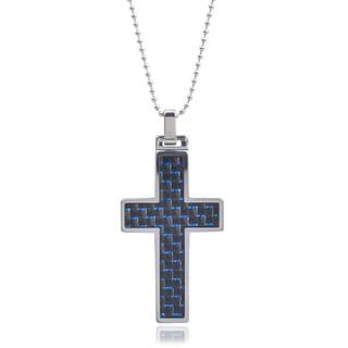 Vance Co. Men's Tungsten Blue Fiber Inlay Cross Pendant